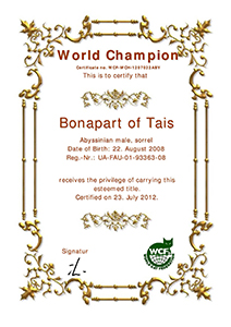 Certificate WCH Bonapart of Tais-300
